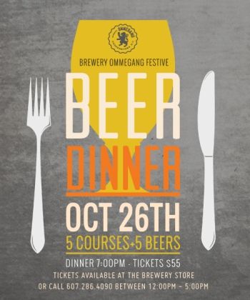 Cafe Ommegang Beer Dinner - October 26 - 7pm