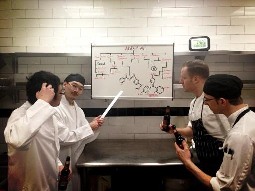 Chef Eli Kulp of Fork and his  R&D Ninjas strategize their Abbey Ale plan of attack.